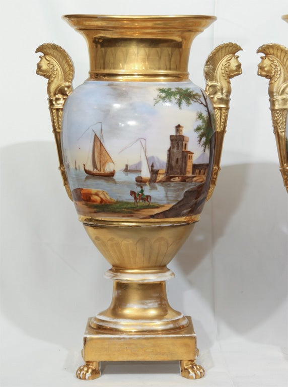 A Pair of Vieux Paris Ovoid Vases image 2
