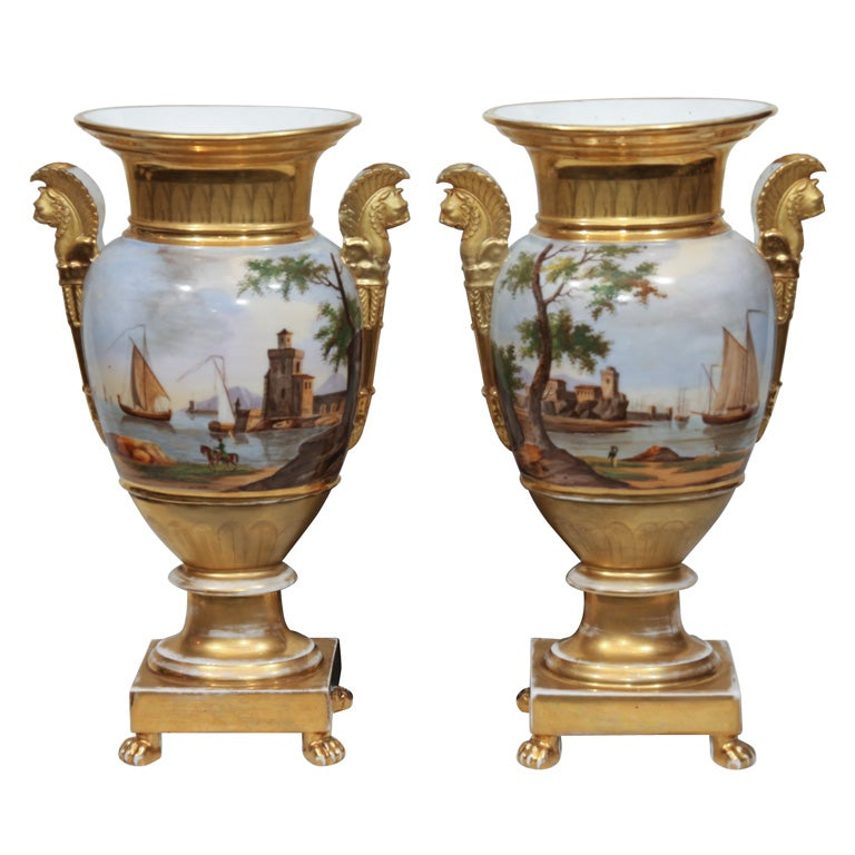A Pair of Vieux Paris Ovoid Vases
