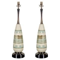 Pair of Turquoise Ceramic Mid Century Lamps