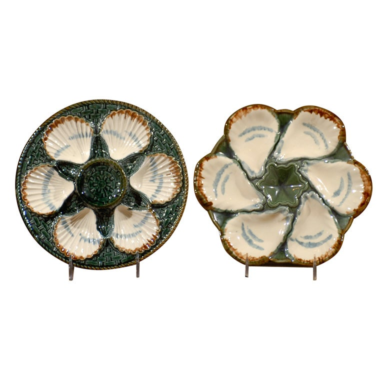 19th Century French Oyster and Scallop Plates Made by Longchamp