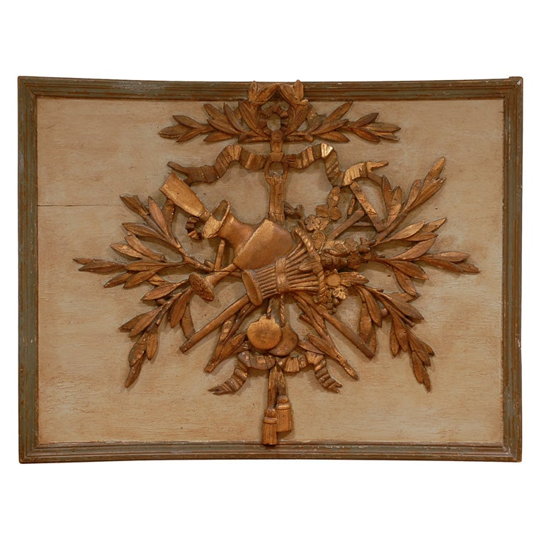 18th Century French Louis XVI Period Painted and Carved Decorative Panel For Sale