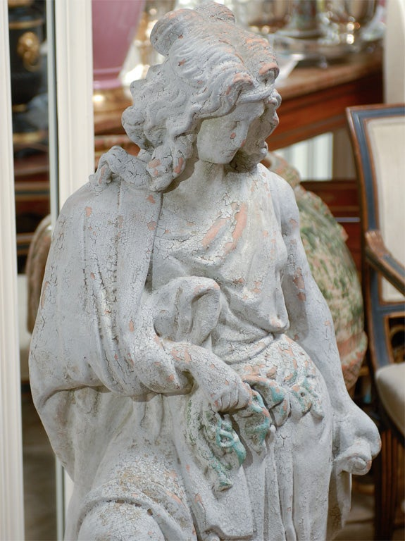 19th century large English terracotta garden statue, old surfaces.