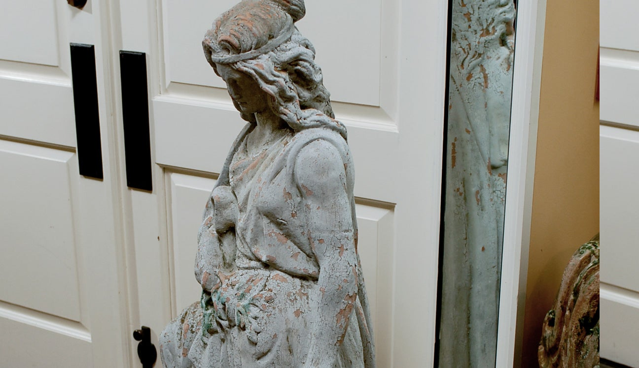 19th Century Large English Terracotta Garden Statue, Old Surfaces In Good Condition For Sale In Atlanta, GA