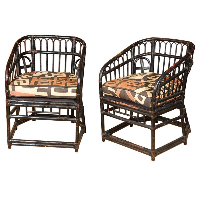 Pair Of Vintage Rattan Chairs W Kuba Cloth Upholstery At