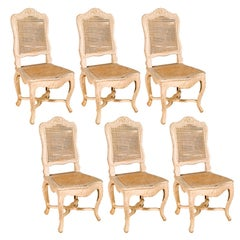 Set of 6 French Country painted dining chairs