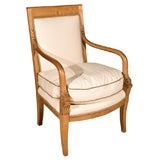 Continental Open Arm Chair- Fruitwood Upholstered Arm Chair