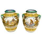 PAIR Italian Majolica LARGE Decorator Urns ANTIQUE