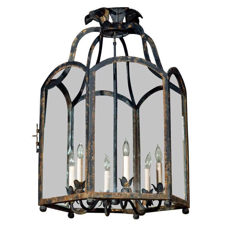large octagon wrought and glass iron lantern 6 light fixture. Black Bedroom Furniture Sets. Home Design Ideas