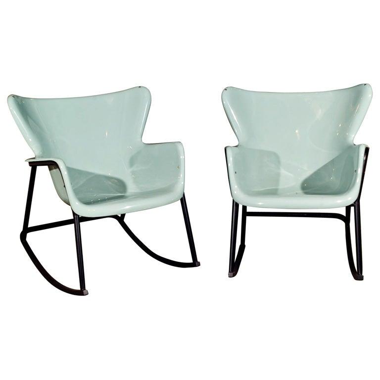 Elegant PAIR Fiberglass Shell Rocking Chairs Lawrence Peabody 1