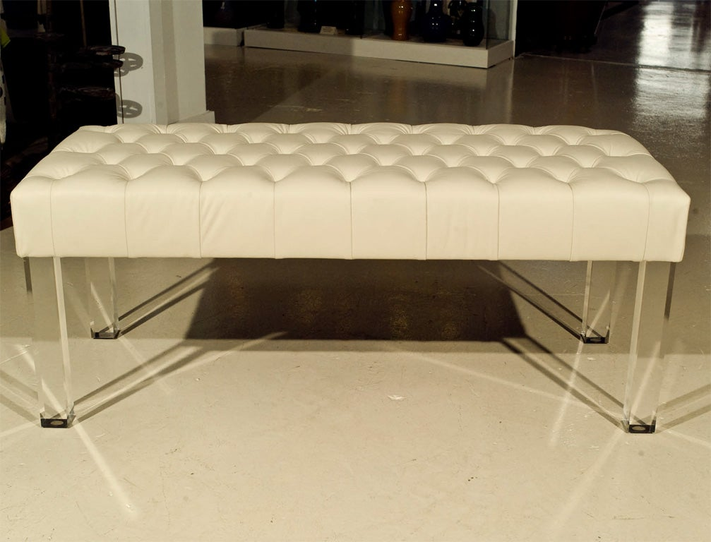 Diamond Tufted Lucite Leg Bench Powder Room And Dressing