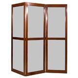 3 Panel Folding Screen Glass, Mahogany and Ebony
