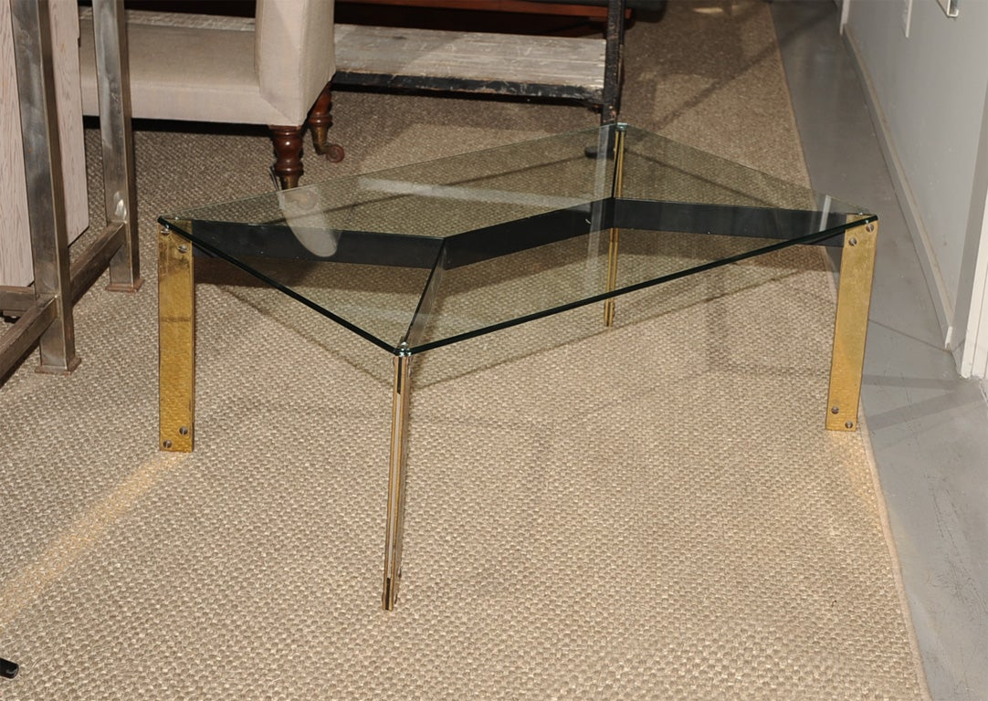 French metal base coffee table with glass top at 1stdibs for Metal coffee table base