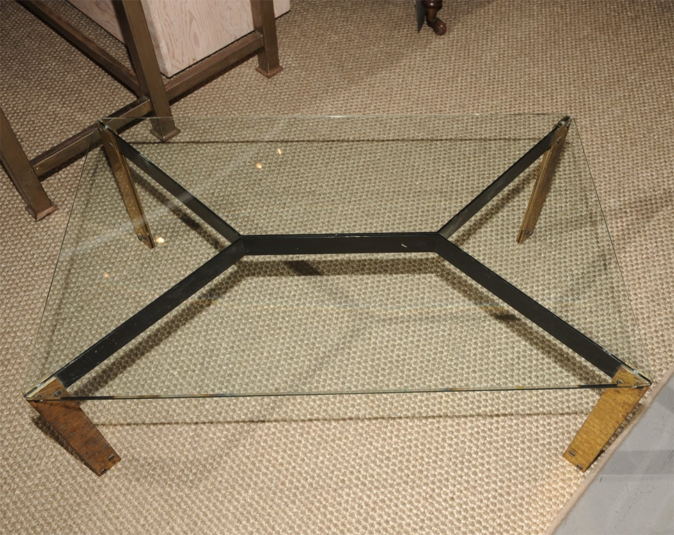 French metal base coffee table with glass top image 7 Metal glass top coffee table