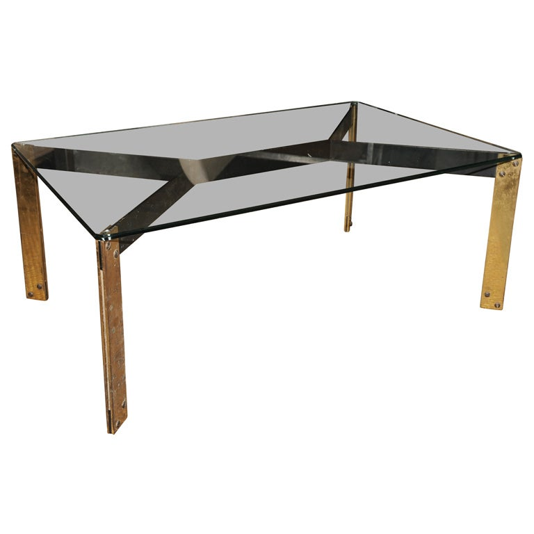 French metal base coffee table with glass top at 1stdibs Metal glass top coffee table