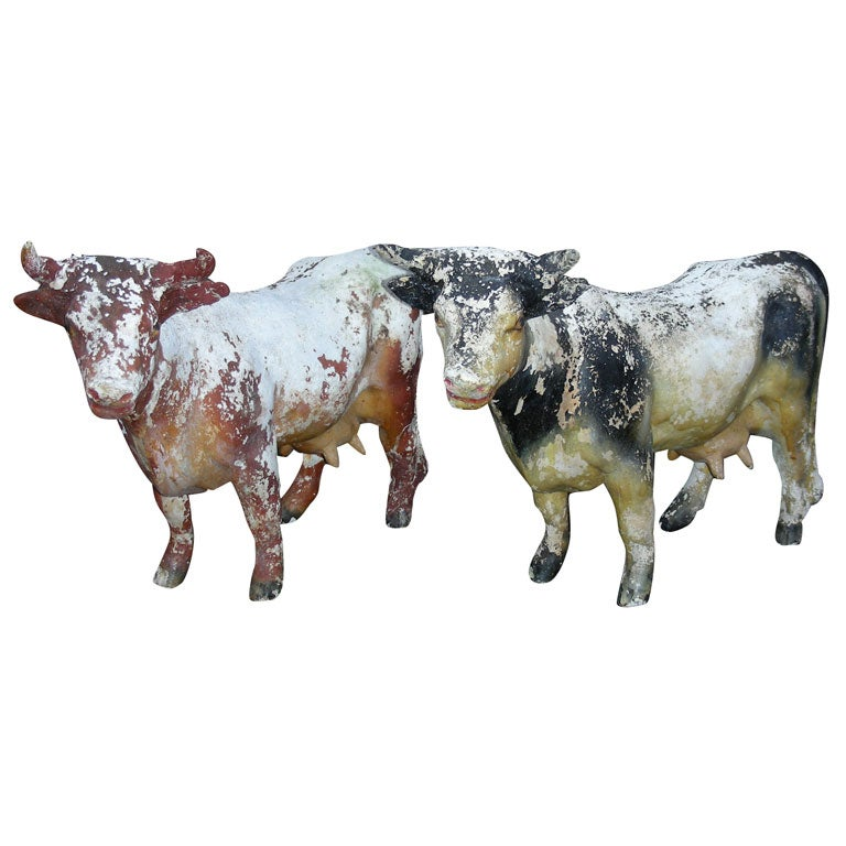 Two End Of 19th Early 20th Century Plaster Cows At 1stdibs