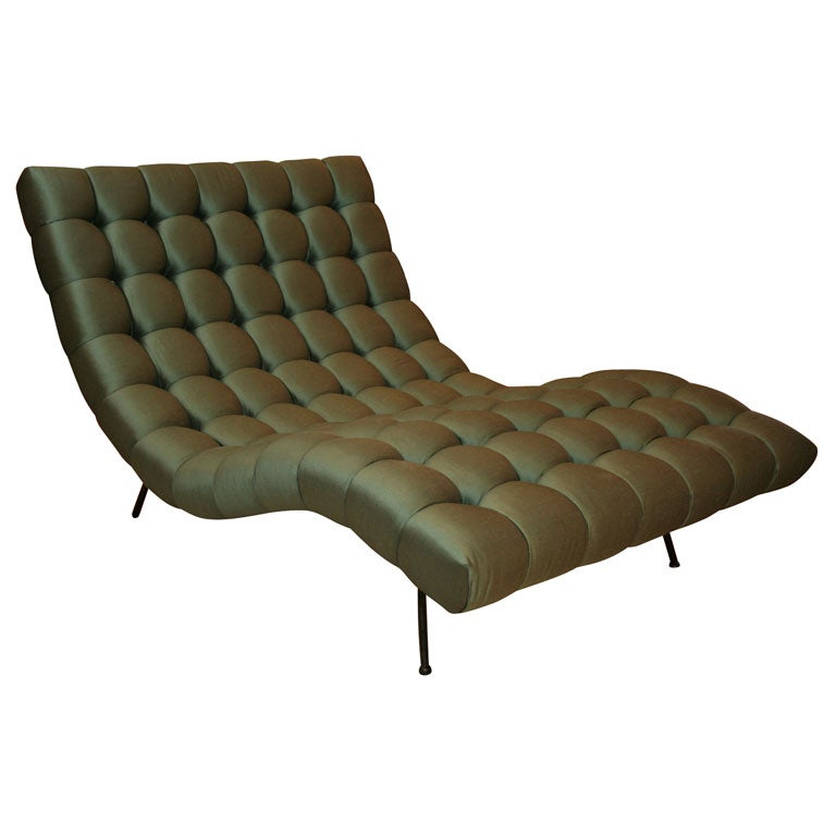 Tufted chaise longue at 1stdibs for Chaise longue lounge