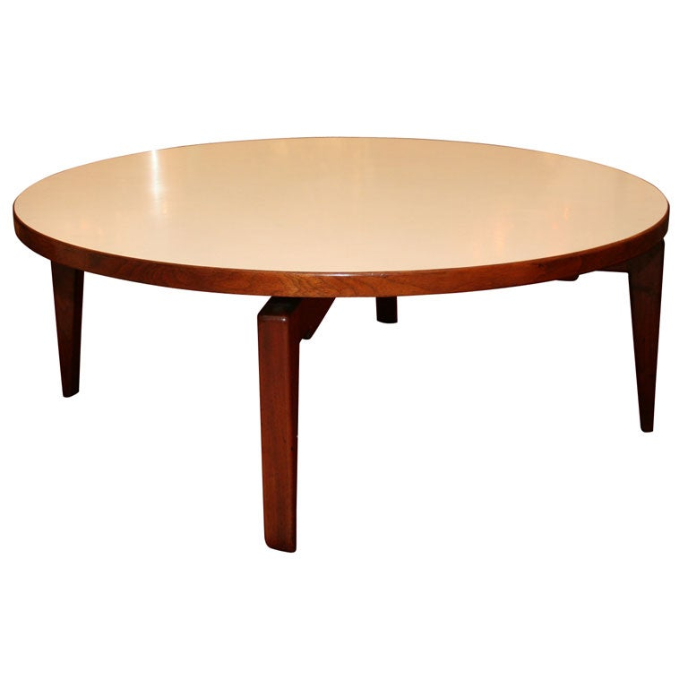 Jens risom revolving coffee table at 1stdibs for Revolving end table