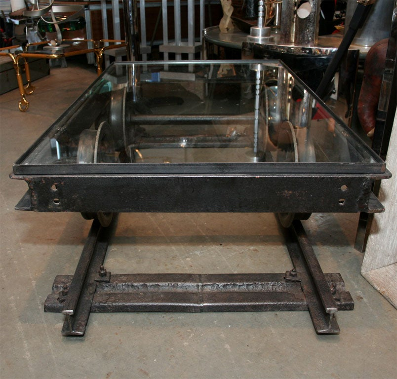 Iron train track table at 1stdibs Train table coffee table