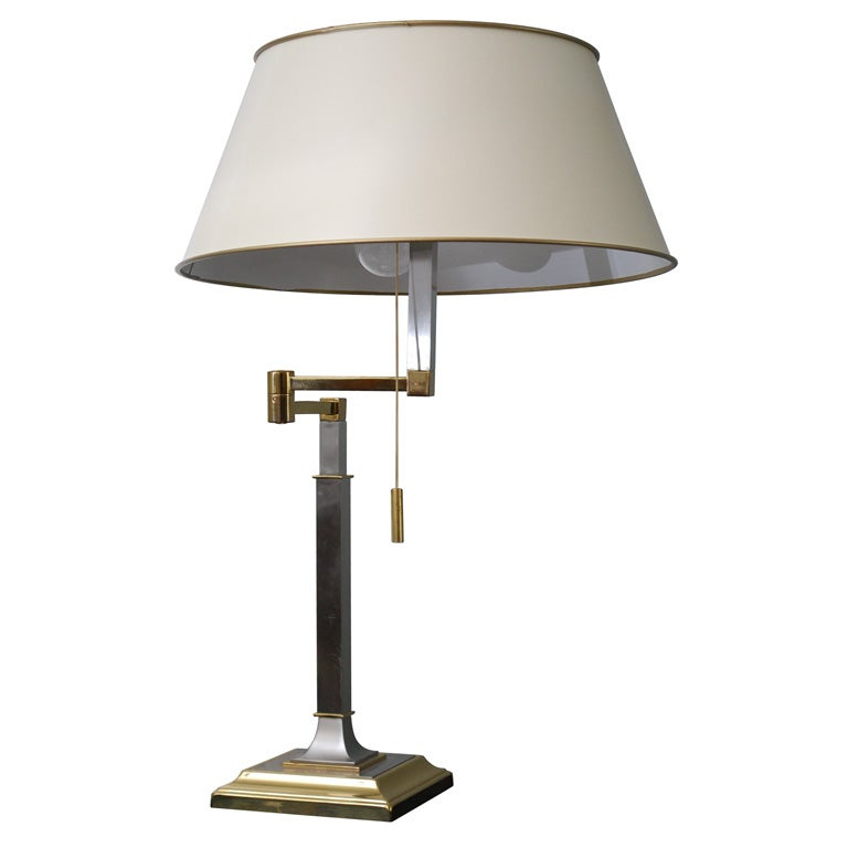 this swing arm table lamp in steel and brass is no longer available. Black Bedroom Furniture Sets. Home Design Ideas