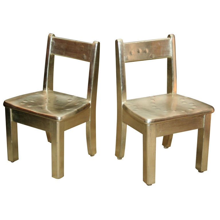 Pair of Gilded Children's Chairs