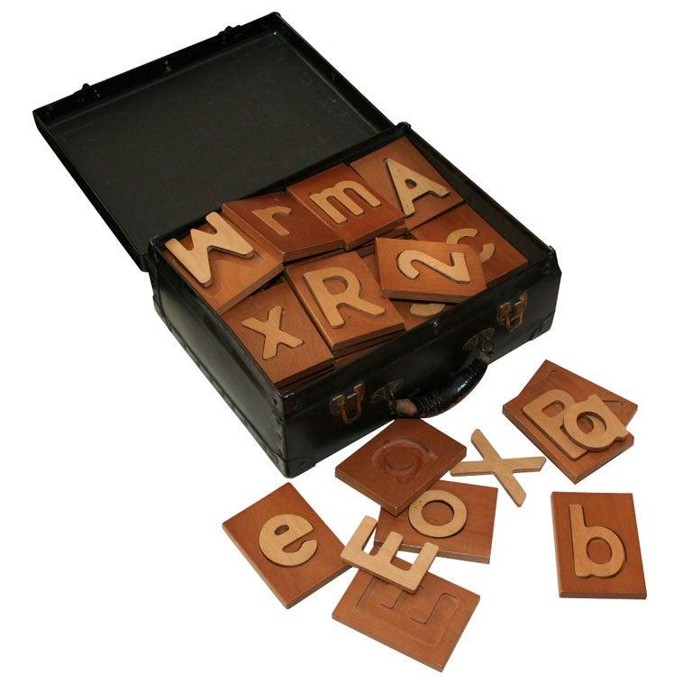 Handmade Wooden Alphabet Set For Sale At 1stdibs
