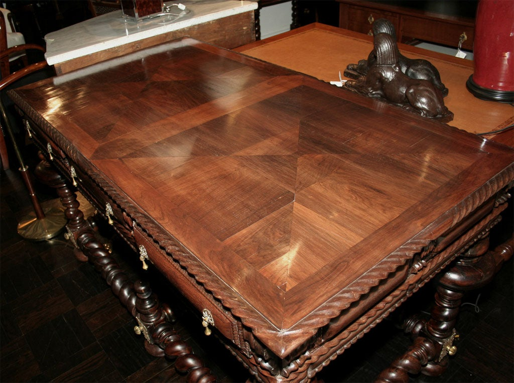 20th century palisander and other exotic wood center table for Table th center