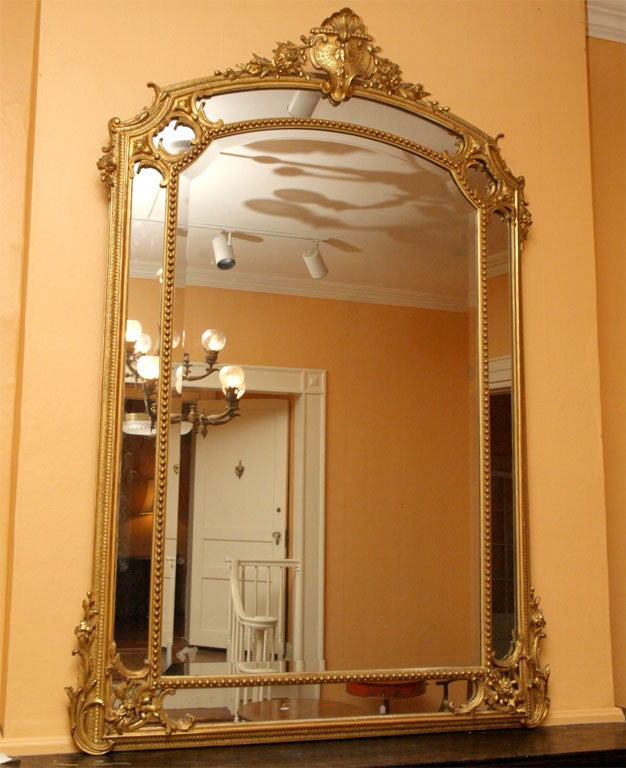 Antique French gold leaf and bevelled glass mirror. at 1stdibs