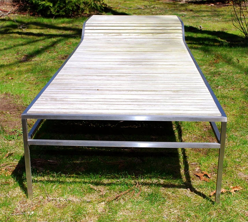 Outdoor chaise longue of rosewood and stainless steel for for Chaise longue garden furniture