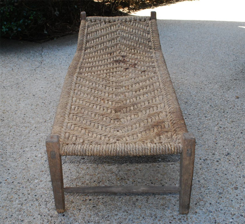 Oak and woven rush lounger at 1stdibs for Chaise musicale