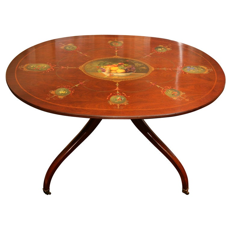 Hand-Painted Mahogany Center Table/Breakfast Table