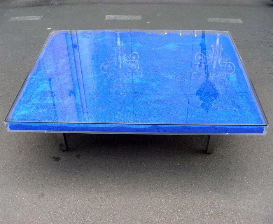 Rare Modern Coffee Table with Paint Pigments by Yves Klein image 2