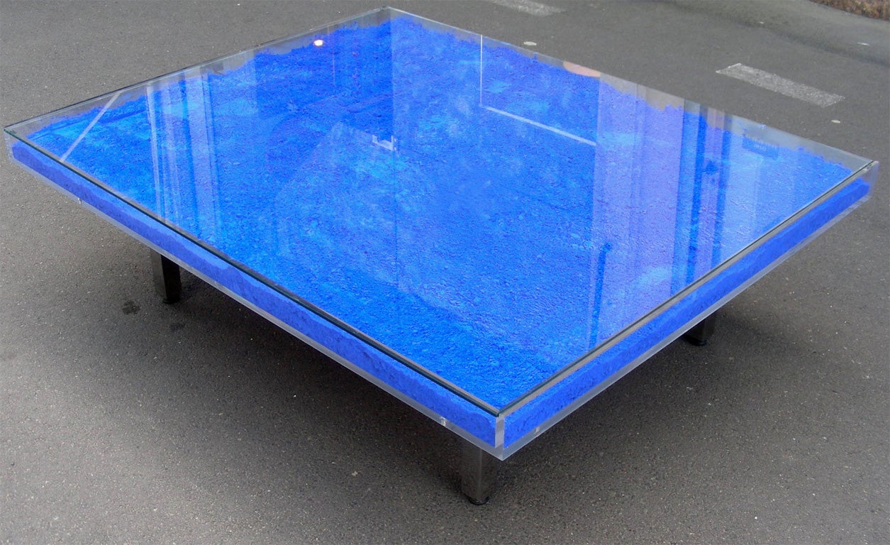 Rare Modern Coffee Table with Paint Pigments by Yves Klein image 3