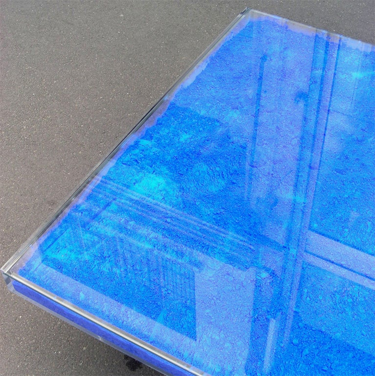 Rare Modern Coffee Table with Paint Pigments by Yves Klein image 4