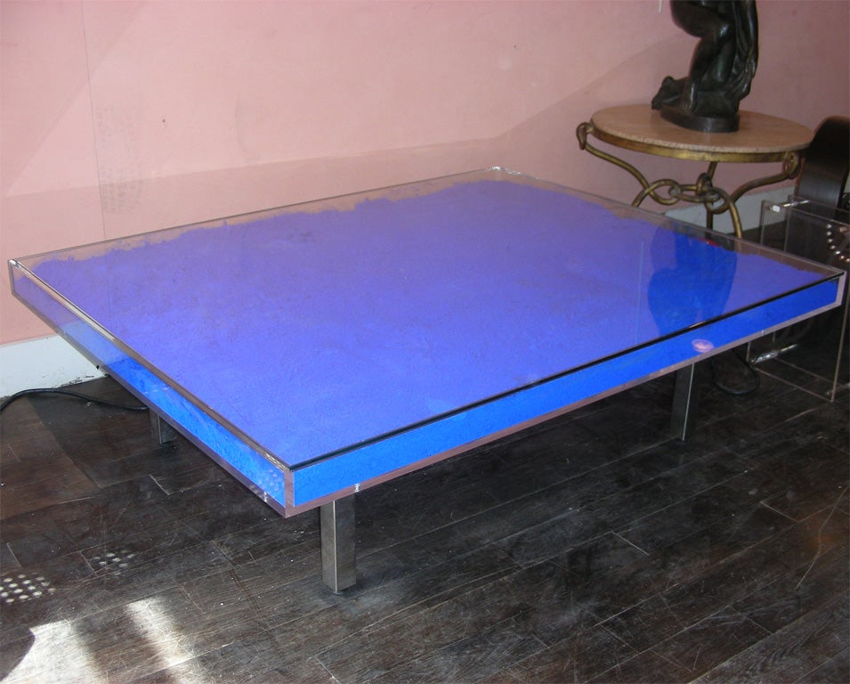 Rare Modern Coffee Table with Paint Pigments by Yves Klein image 5