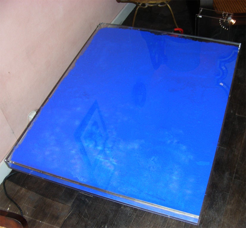 Rare Modern Coffee Table with Paint Pigments by Yves Klein image 6