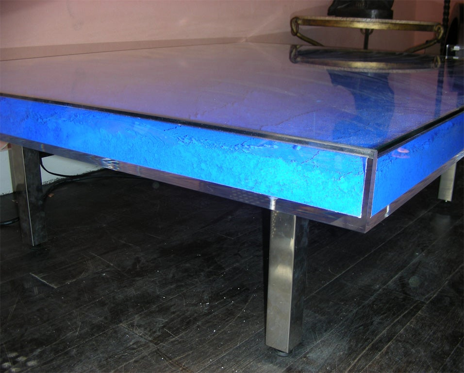 Rare Modern Coffee Table with Paint Pigments by Yves Klein image 8