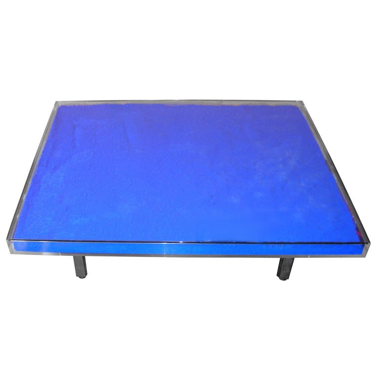 Rare Modern Coffee Table with Paint Pigments by Yves Klein