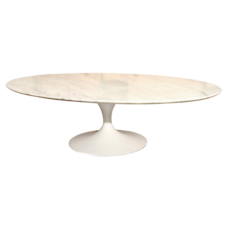 Eero Saarinen Oval Shaped Marble Coffee Table Mfg Knoll At 1stdibs