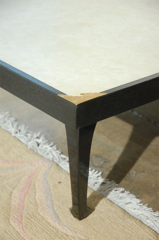 asian inspired coffee table with cream linoleum top at 1stdibs. Black Bedroom Furniture Sets. Home Design Ideas