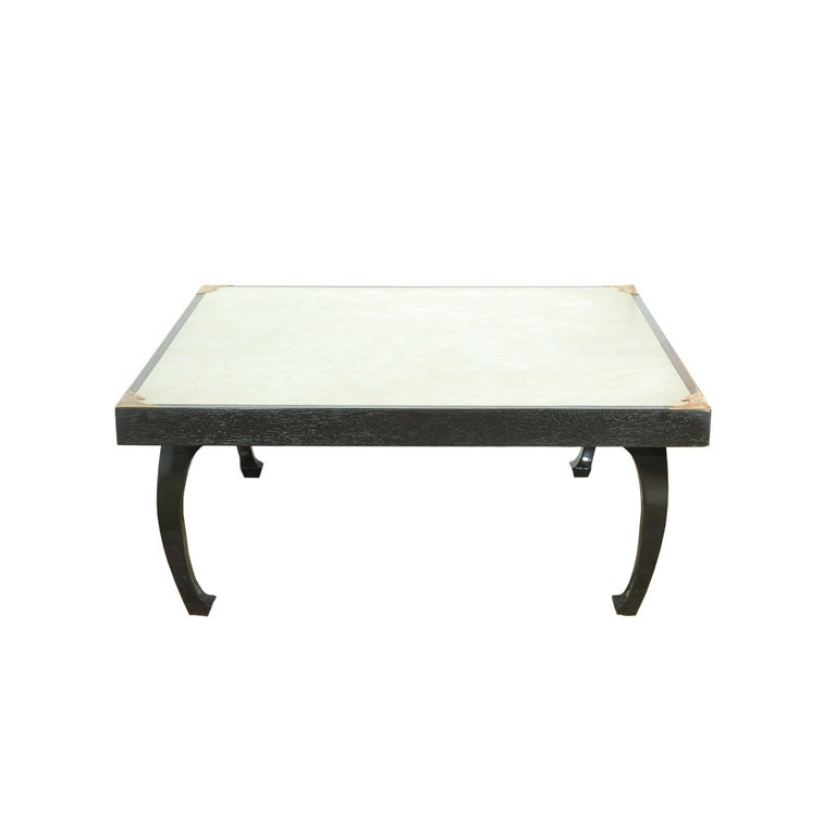 Asian Inspired Coffee Table With Cream Linoleum Top At 1stdibs