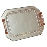 1940'S ROSE MIRRORED FRENCH PLATEAU