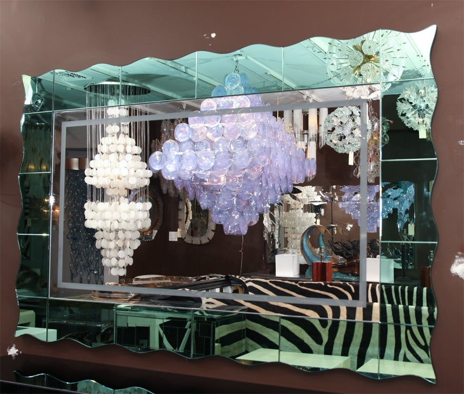Custom green glass mirror at 1stdibs for Custom mirror glass