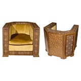 Pair of Art Deco Moroccan Inlaid Chairs