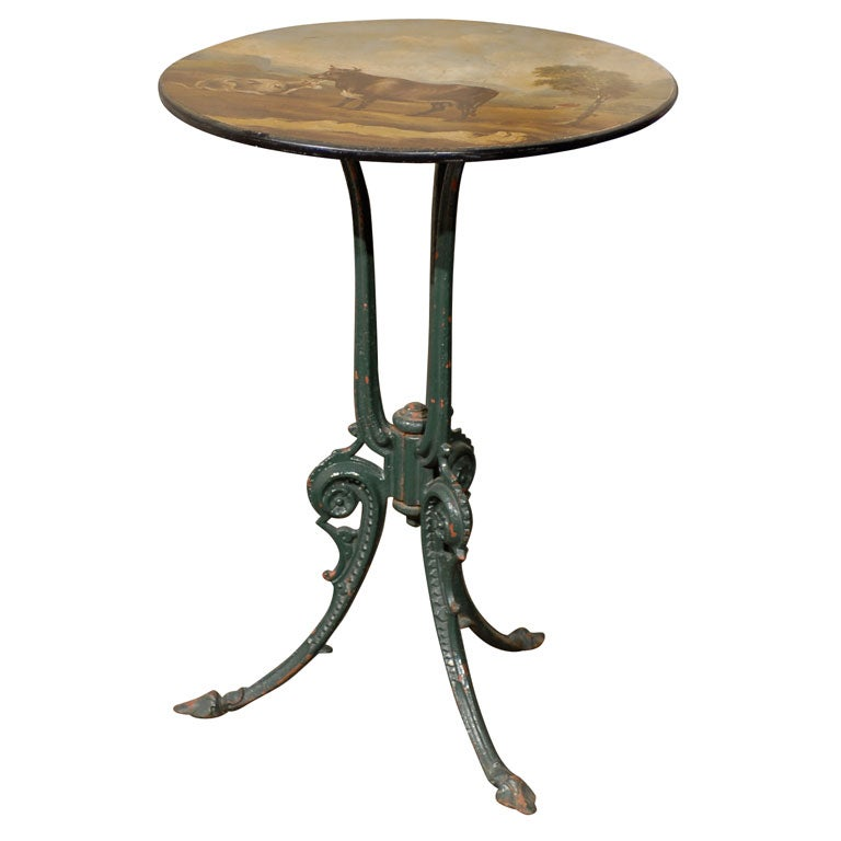 English Vintage Side Table with Iron Base and Pastoral Scene Painted Round Top