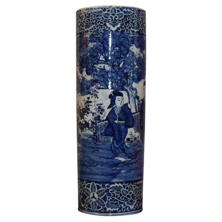 Umbrella Stand Blue And White: Blue And White Porcelain Umbrella Stand At 1stdibs
