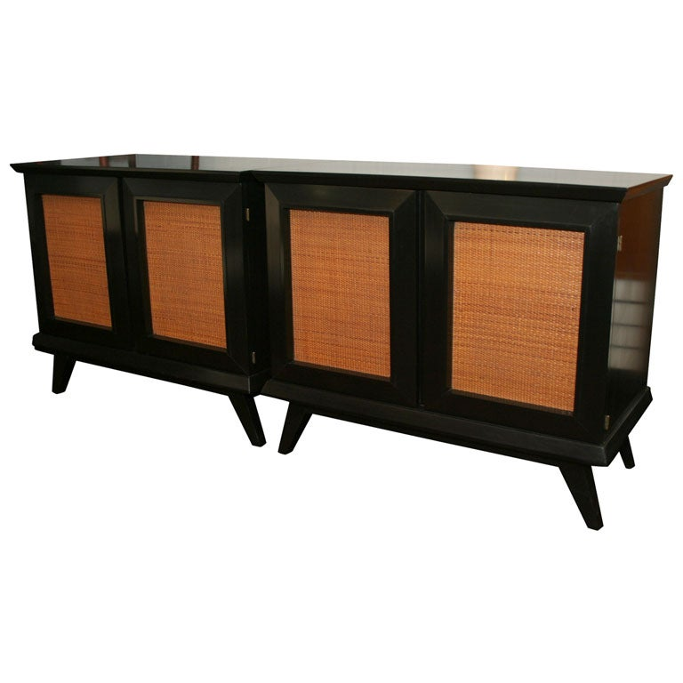 Pair of ebonized maple cabinets with raffia door panels at for Sideboard lindholm