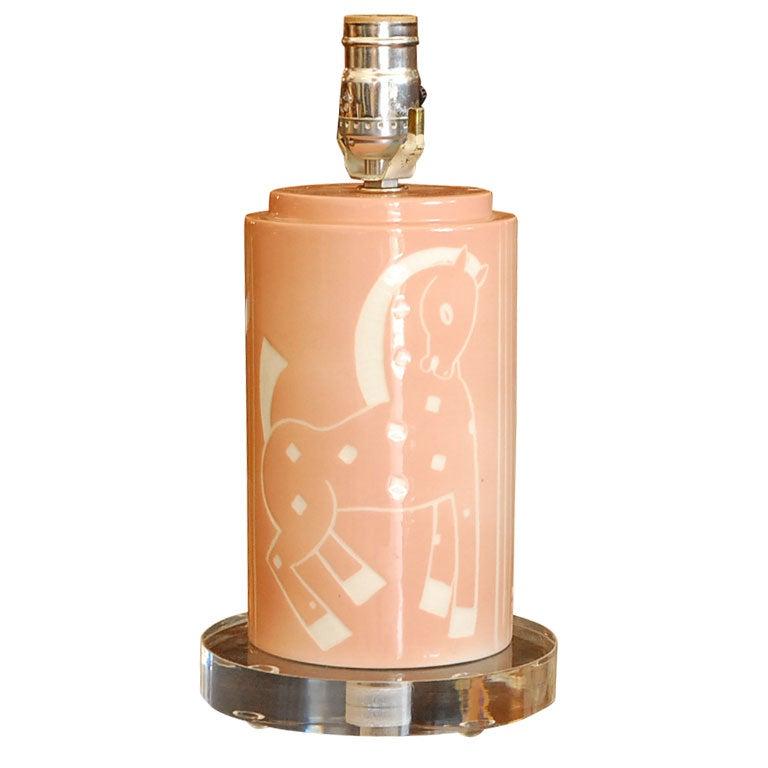 Deco  signed Waylande Gregory ceramic/porcelain table lamp