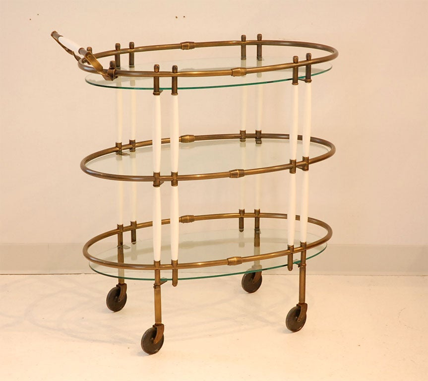 Patinated Bronze And Cream Lacquer Bar Cart At 1stdibs