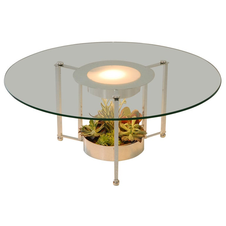Silverplate And Glass Lighted Cocktail Table With Planter At 1stdibs