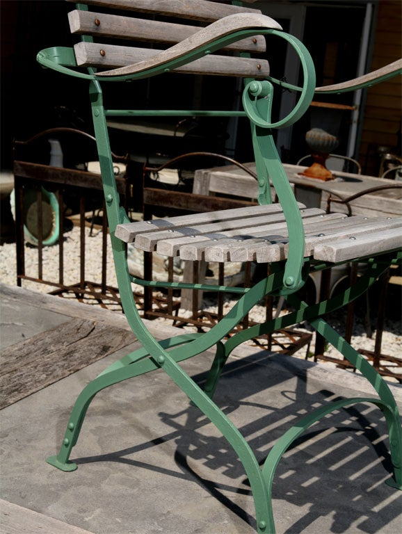 Set of 4 Folding Teak and Metal Garden Chairs at 1stdibs